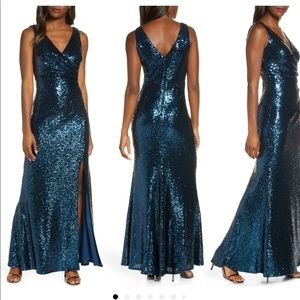 Vince Camuto Blue Sequin Long Dress sz 6 Stunning!